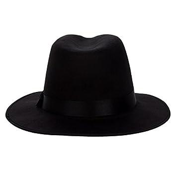 Aerusi Men's Vintage Wide Brim Hard Felt Fedora Panama Hat with Bowknot Black Ribbon
