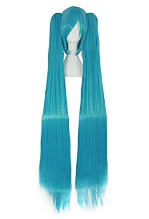 Vocaloid Miku Blue 2 Ponytails Straight Long Party Costume 130cm Cosplay Wigs