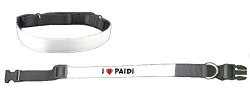 Personalisiertes Hundehalsband mit Aufschrift Ich liebe Paidi (Vorname/Zuname/Spitzname)
