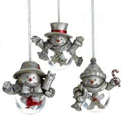 Towle Snowman Snowglobe Ornaments, Set of 3