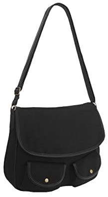 EyeCatchBags - Corsica Cross Body Canvas Shoulder Bag Black