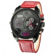 Men's Casual Sport Wristwatch Two Time Zone Display Red
