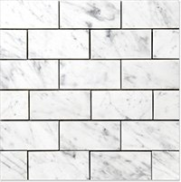 "CARRARA (CARRERA) MARBLE 3x6"" SUBWAY HONED TILE VENATO EXCLUSIVE FROM BUILDERS DEPOT DIRECT"