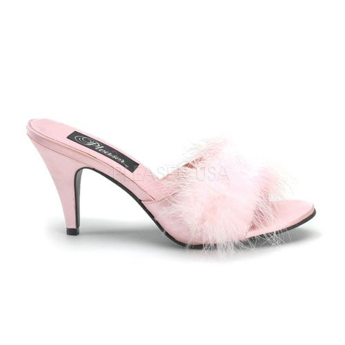 Cheap 3 inch Classic Marabou Slipper B. Pink Satin-Fur (B007D56NCO)