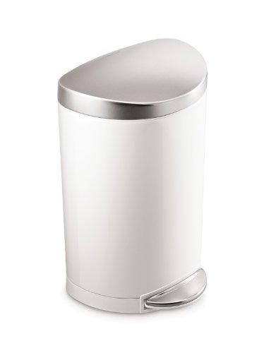 simplehuman Semi-Round Step Trash Can, White Steel, 10 L / 2.6 Gal (Trash Can 13 Gallon Semi Round compare prices)