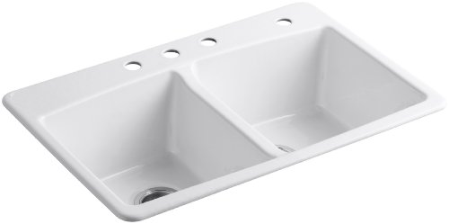 KOHLER K-5846-4-0 Brookfield Top-Mount Double-Equal Bowl Kitchen Sink with 4 Faucet Holes, White (Cast Iron Sinks compare prices)