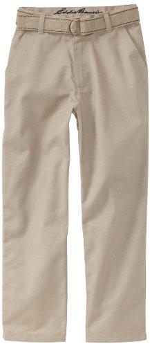 Eddie Bauer Little Boys' Uniform Twill Belted Pant, Khaki, 6