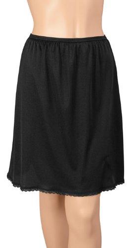 Gemsli Classica, Nylon Half Slip with Tiny Lace, Cling Free, Medium-20 Inch Black