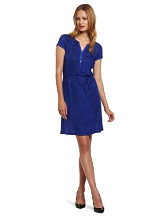Calvin Klein Jeans Women's Short Sleeve Slitneck Dress, Sapphire, X-Small