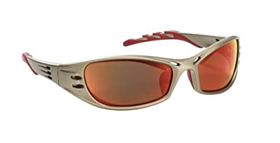 3M AO Safety/3M Tekk 90987 Fuel High Performance Safety Glasses with Titanium-Colored Frame and Red Mirror Lens