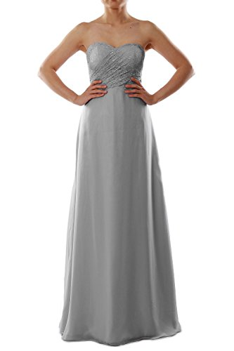 acb991684c22 MACloth Women Strapless Lace Chiffon Long Bridesmaid Dress Evening Formal  Gown (12, Gray)
