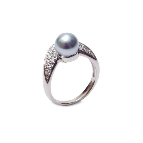 Sterling Silver 8mm Light Gray Shell Pearl and Cubic Zirconia Ring, Size 5