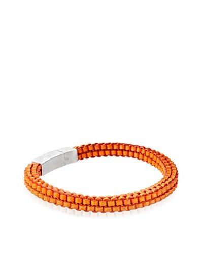 Tateossian Hand Braided Italian Leather Bracelet, Orange