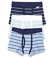 3 Pack Autograph Pure Cotton Striped Trunks
