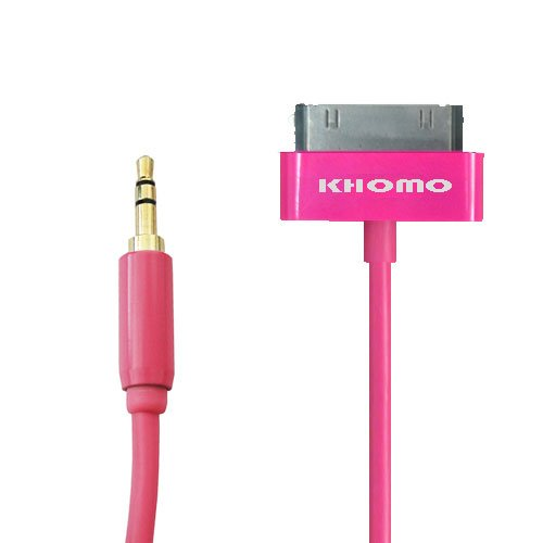 Khomo ® Pink Aux 3.5Mm To Apple Ipod & Iphone Dock Connector For Car, Speakers, Audio. 6Ft Super Long (Twice The Length)