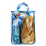 Hannah Montana Tote Bag Purse with Wig and Assorted Accessories sunglasses, earings, microphone, teal blue, turquoise, dress-up set