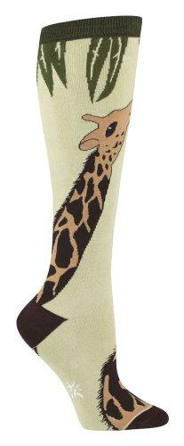 Giraffe Womens Knee Socks, Light Green one size fits most