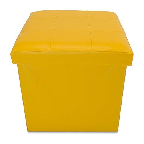 VENKON-Faltbarer-Sitzwrfel-mit-Aufbewahrungsfunktion-Sitzhocker-Kunstlederbezug-38-x-38-x-38-cm-gelb
