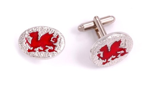 St Justin, Pewter Welsh Dragon Oval T-Bar Cufflinks
