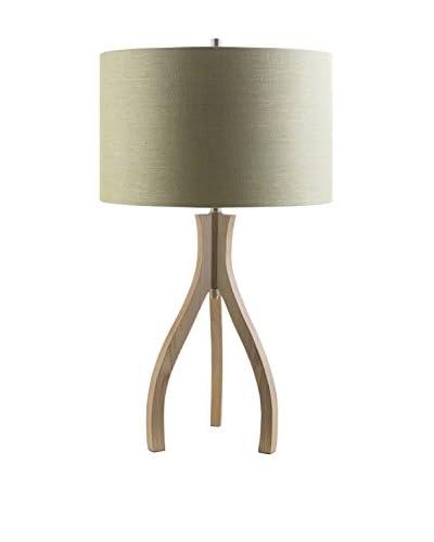 Surya Duxbury Table Lamp, Natural Wood/Green