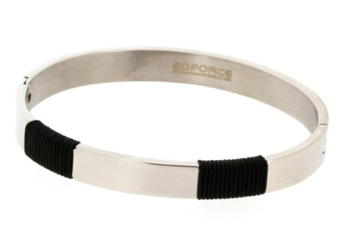 8 EDFORCE Stainless Steel Yellow Gold-Tone Blue Large Statement Bracelet Bangle