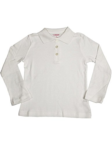 French Toast - Big Girls' Long Sleeve Interlock Polo, White 33645-12 front-1007875