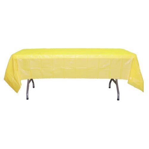 "Yellow 54"" x 108"" Plastic Tablecover - 1"