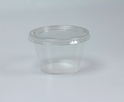 Disposable 4oz Plastic Condiment Cups with Lids, Souffle Portion, Jello Shot Cups, Salad Dressing, Sauce (50, Clear)