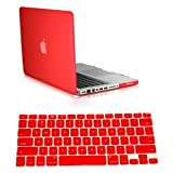 Dealgadgets Red Frosted Matte Surface Crystal Hard Shell Case for MacBook Pro 13″ A1278 Aluminum Unibody with Silicone Keyboard Cover Skin Stickers Protector