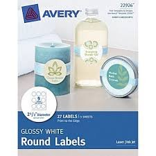 Avery print to the edge glossy white round labels 2 1 2 for Avery 3 inch round labels template