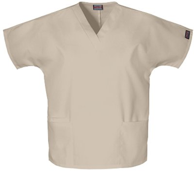 311HfWnksJL Cherokee 4700 V Neck 2 Pocket Scrub Top Khaki X Large SPECIAL OFFER