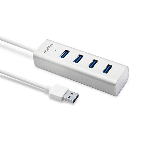 hootoosuperspeed USB 3,0 4-puertos (Bus-funciona con, y e-readers de 40 cm USB 3,0 Cable, aluminio) - Plata