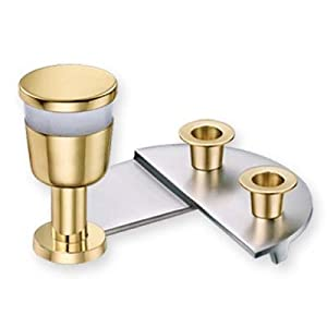 Kiddish Cut By Binstead (Artist). Brass with Silver and Gold Plated Shabbat Kiddush and Candle Sticks Set, Renowned Artits Anthony Binstead Design, Gold Plated and Frosted Glass Kiddush Cup, and Candle Holder on Silver Three Quarter Stepped Base for Shabbat and Jewish Holiday.