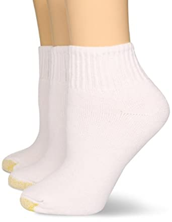Gold Toe Women's 3-Pack Marathon Athletic Quarter Sock, White, size 9-11