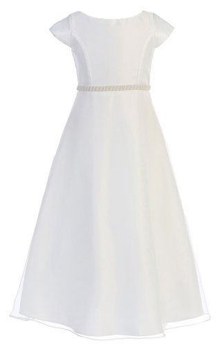 Sweet Kids Girls Pearl Belt Satin and Organza Dress 14 White (Sk 411)