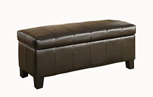 Homelegance Lift Top Storage Bench Faux Leather, Dark Brown