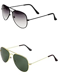 SHEOMY COMBO OF STYLISH BLACK WHITE AVIATOR AND GOLDEN GREEN AVIATOR SUNGLASSES WITH 2 BOX - Free Delivery