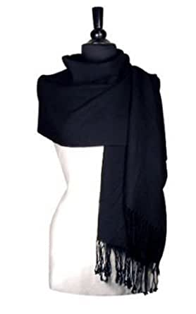 100% Pashmina BLACK Shawl Wrap. Woman's Scarf.