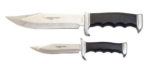 Humvee Hmv-Bc-02-Bk Campco Bowie Knife Combo Set With Mirror Polished Stainless Steel Blades And Black Pakawood Handles