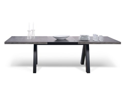 Good Temahome Alpha Extending Dining Table Concrete and Pure Black