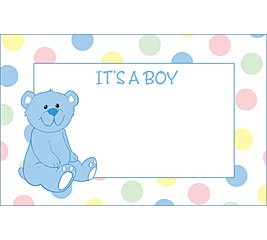 It's A Boy Bear Baby Shower Enclosure Cards 50 Pack- Gift Supplies