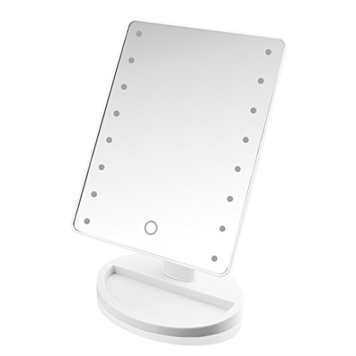 Mcoley Touch Screen 16 LED Battery Operated Adjustable Tabletop Makeup Mirrors (White)