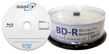DIGISTOR 50GB BD-R Media, 6X (25 pack)