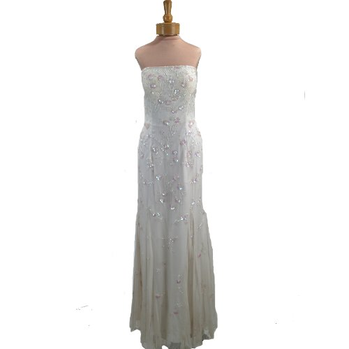 Wedding Dress. Womens Long Evening Gown. Formal Bridal Dress. Ivory Beaded Dress by Formal Gallery
