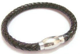 Unisex Dark Brown Genuine Leather Wristband with Stainless Steel Magnetic Fastener - Suitable for a wrist measuring between appx. 6.2