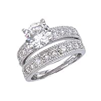 Sterling Silver Wedding Ring Set With Round Shape Cubic Zirconia