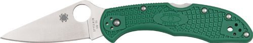 Spyderco Delica4 Lightweight FRN Flat Ground PlainEdge Knife (Green) picture