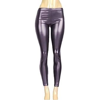 Luxury Divas Black Gloss Metallic Club Wear Liquid Leggings at Amazon
