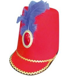 [Ukps Majorette/Toy Soldier Hat (Felt, With Jewel And Feather) - Red] (Toy Soldier Hat)