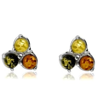 Multicolor Amber Sterling Silver Triple Stone Contemporary Stud Earrings